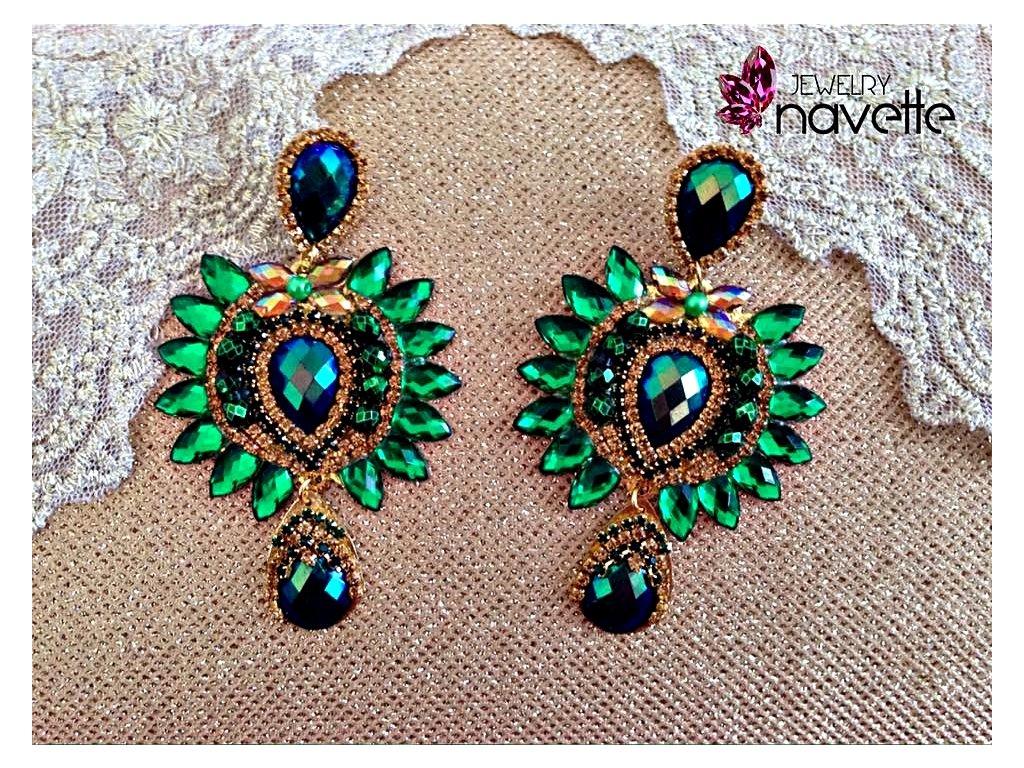 099ad0c9c Náušnice Carmen - zelené - Navette jewelry