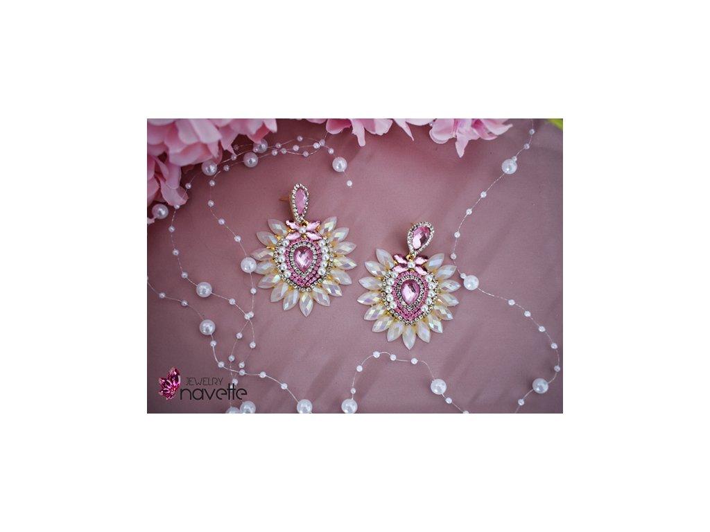 Bezstrapcové náušnice - bielo ružové
