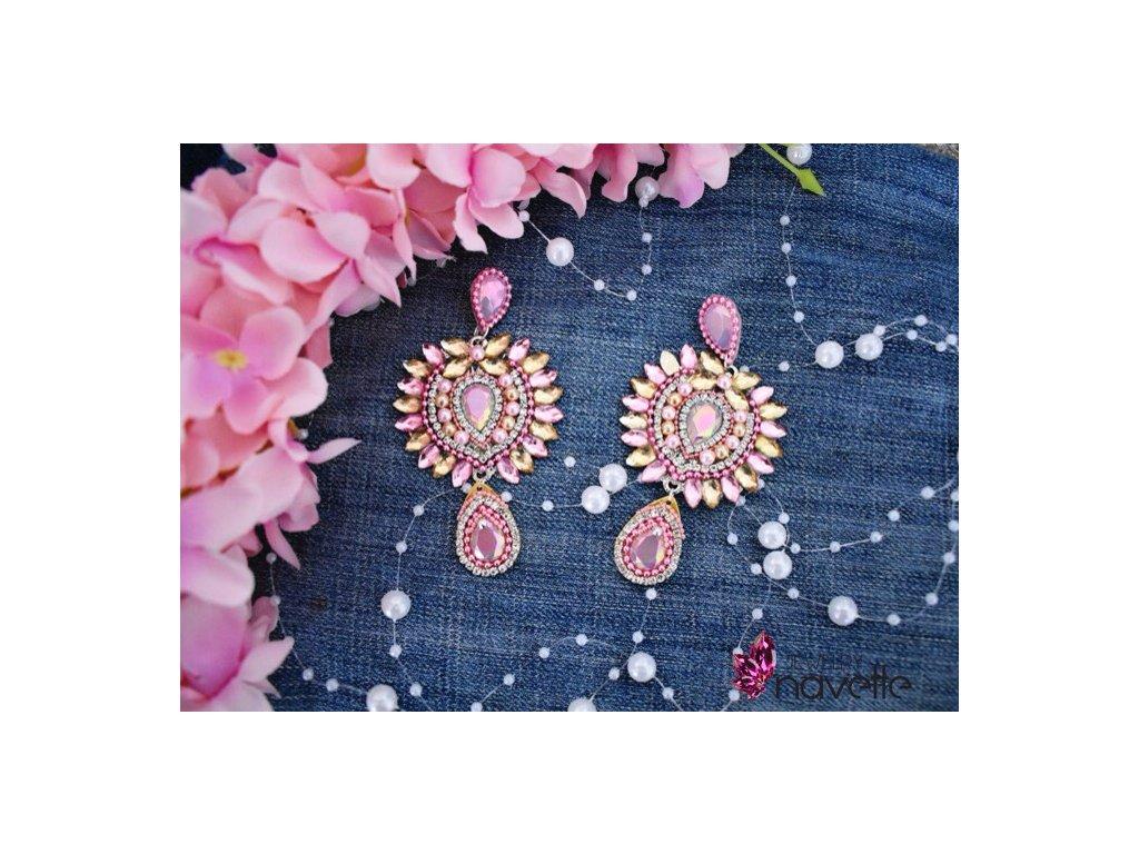 Náušnice Carmen - pink/beige