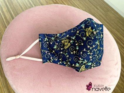Dizajnové bavlnené rúško s kamienkami Butterfly