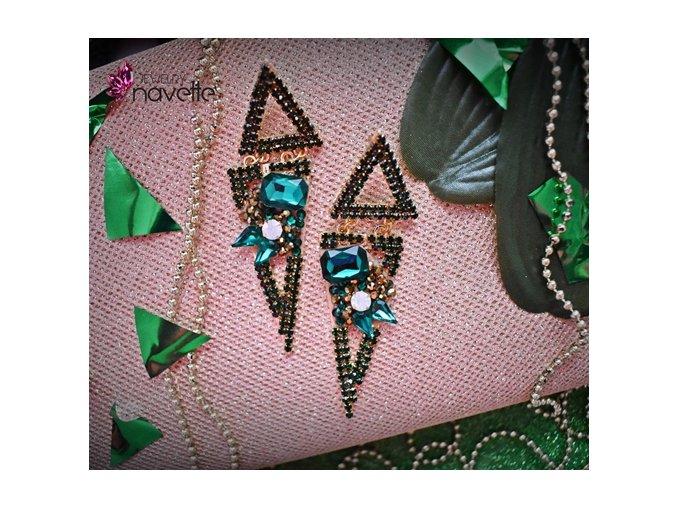 Náušnice Triangle - smaragd