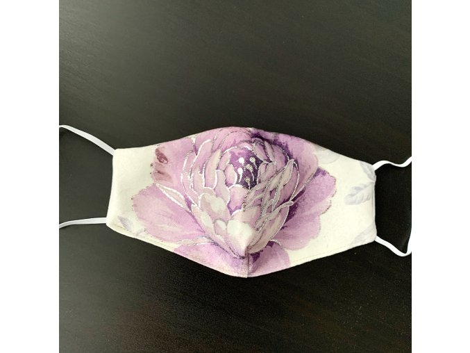 Dizajnové rúško Fialový kvet