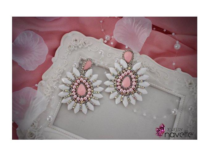 Bezstrapcové náušnice klasic by NJ - bielo ružové