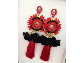 Náušnice Florine - red/black
