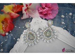 Bezstrapcové náušnice klasic by NJ  - perleťové biele