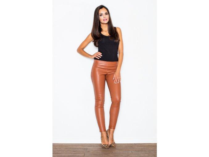 Dámské koženkové kalhoty Rebeka - hnědé