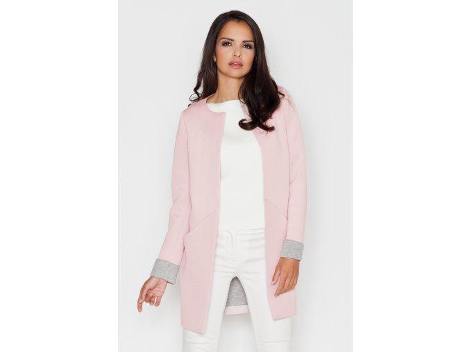 Elegantní dámský kabátek Angelika - růžový
