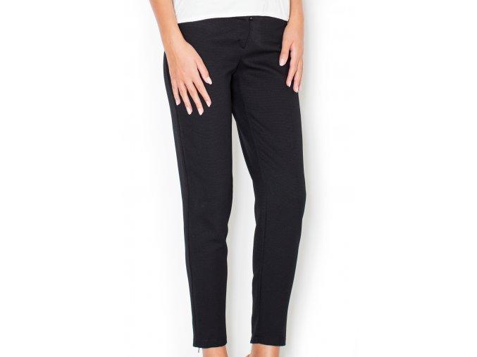 Dámské kalhoty zdobené zipy Lena – černé
