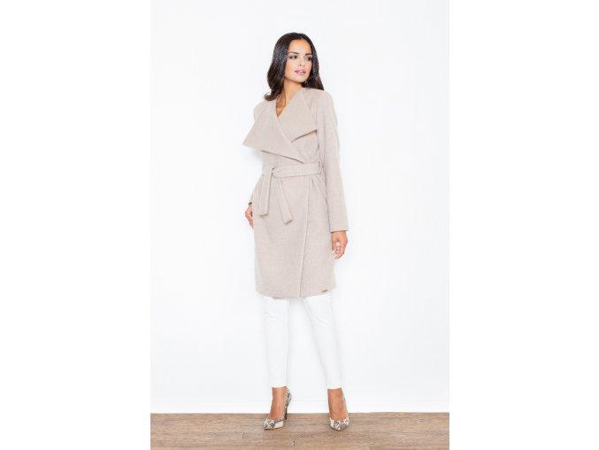 Krásný dámský kabát s nápadnými klopami Anita – béžový