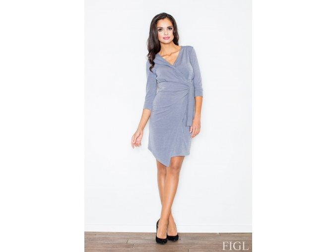 Asymetrické zavinovací šaty Saly – šedé