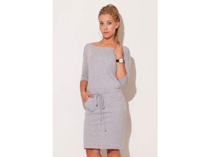 Midi šaty Lejla se šňůrkou v pase – šedé