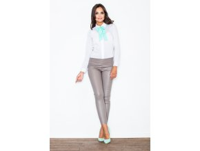Dámské koženkové kalhoty Rebeka - béžové