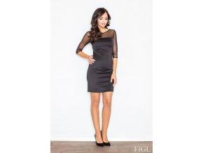 Dámské šaty Anabela se síťovinou – černé