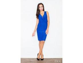 Elegantní šaty Rosalie s překřížením v dekoltu – modré