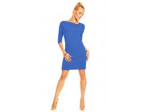 Akce - Mini šaty Emma s asymetrickým výstřihem s volánky - chrpa