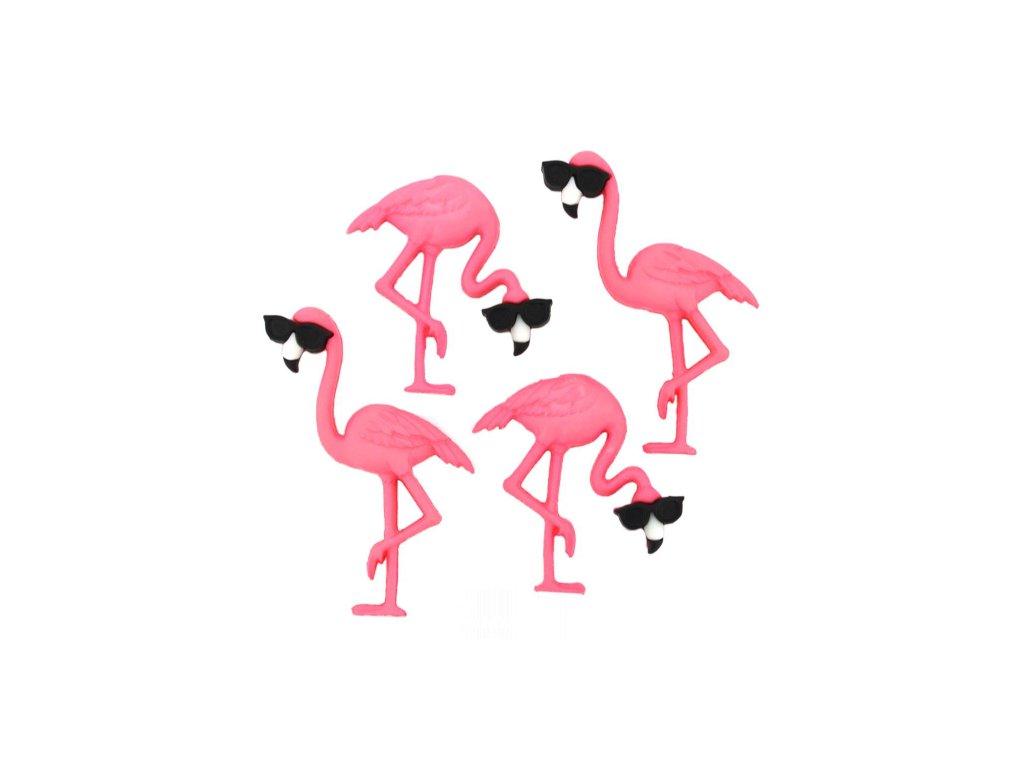 DIU-10407 Ozdobné knoflíky - Think Pink Flamingos