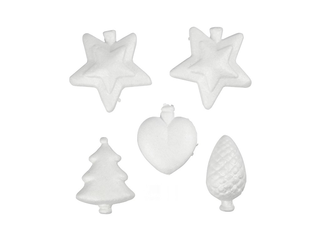 CRE-54342 Vánoční ozdoby z polystyrenu 7-8cm (5ks)