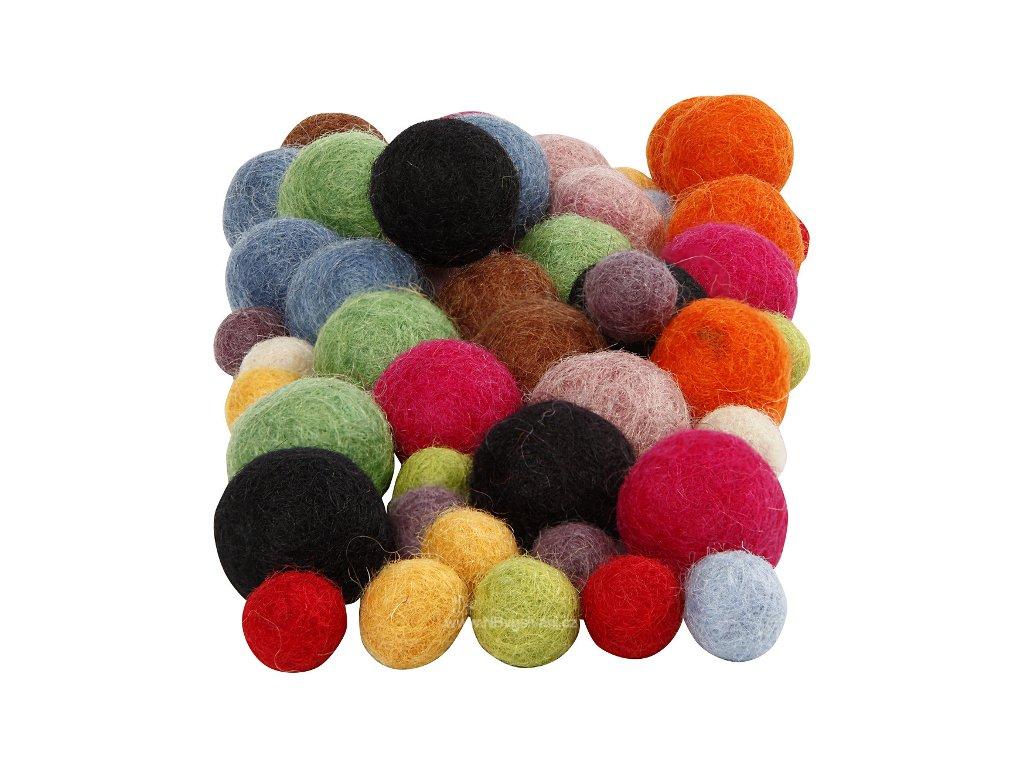 CRE-45148 Plstěné barevné vlněné koule (52ks)
