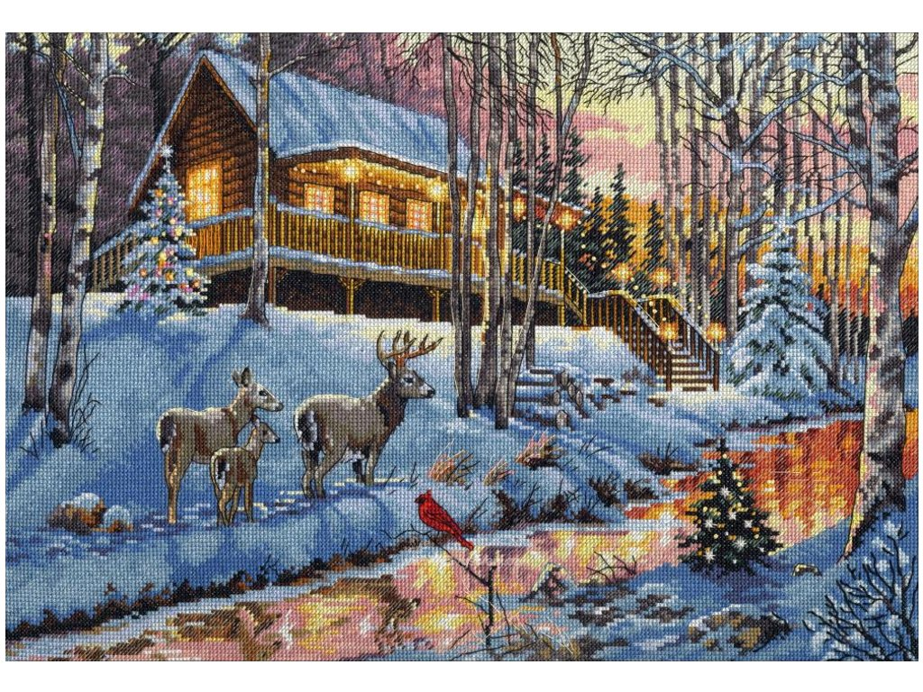 70-08976 Winter Cabin - Srub v lese