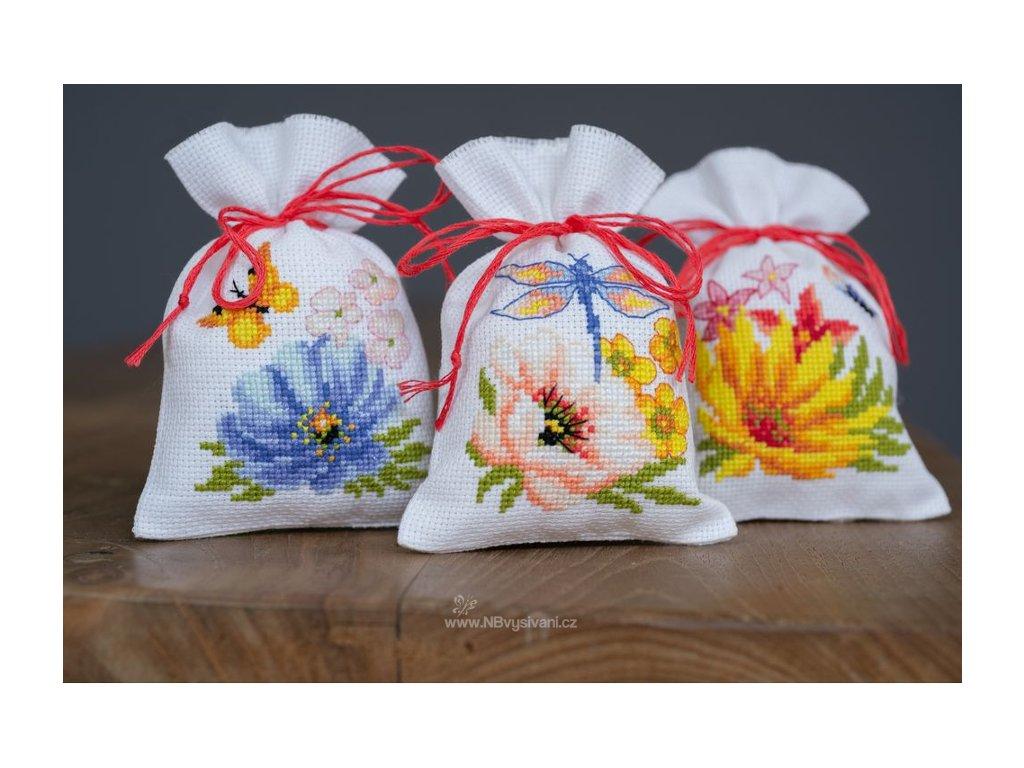 VE-PN0185083 Dekorační sáčky s květy (set 3ks)
