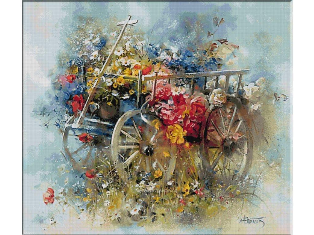 KRI-2255 Flower cart (gobelínový steh)