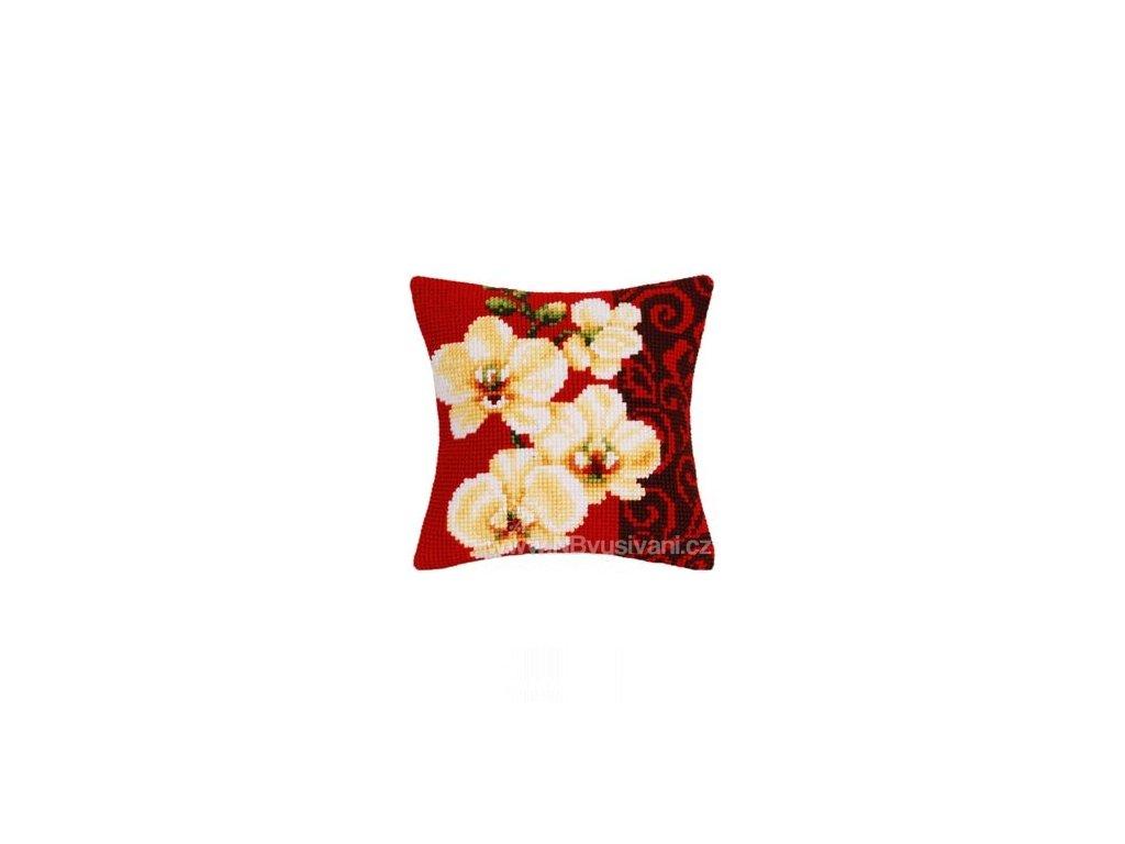 VE1200-992 Polštář - orchidea s ornamenty