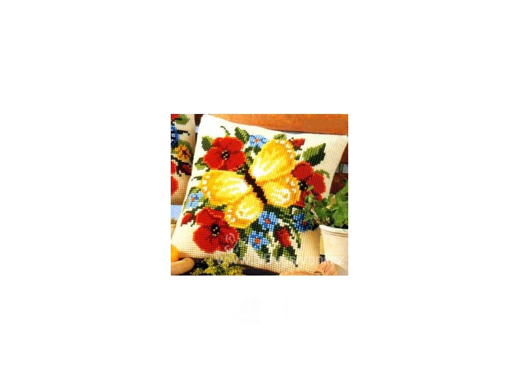 VE1200-643 Polštář se žlutým motýlem