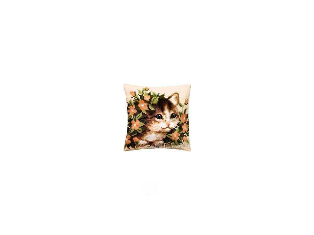 VE1200-238 Polštář s kočkou a květy