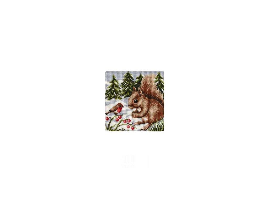 VE1200-764 Polštář s veverkou a ptáčkem
