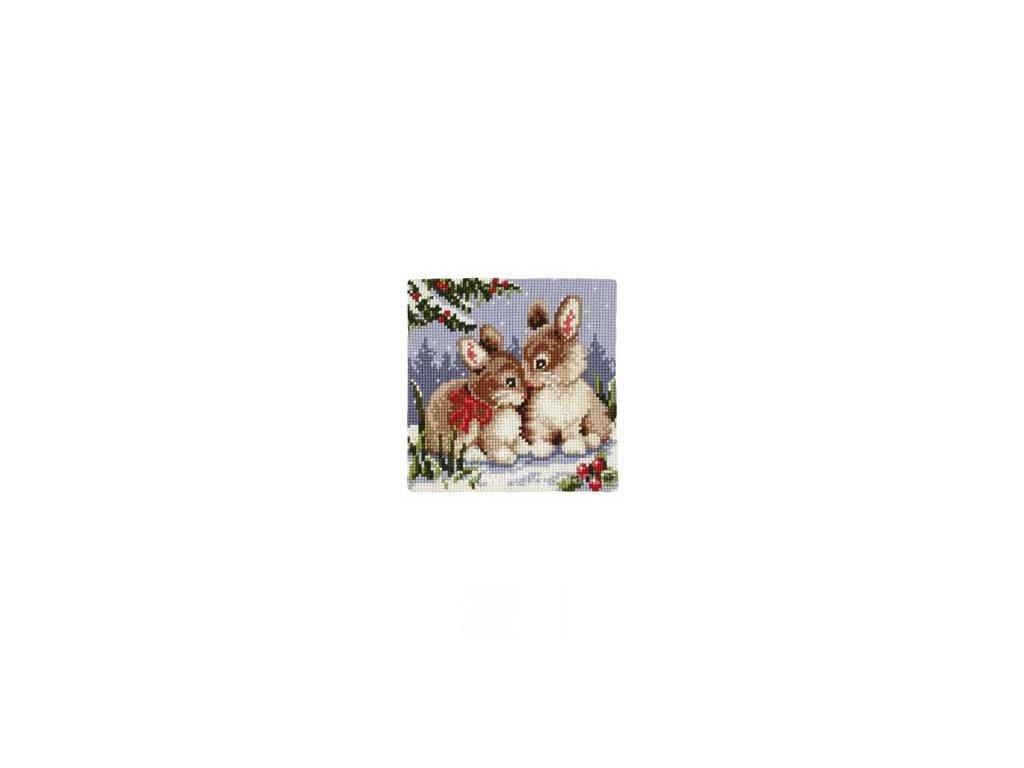 VE1200-782 Polštář s malými zajíčky v zimě