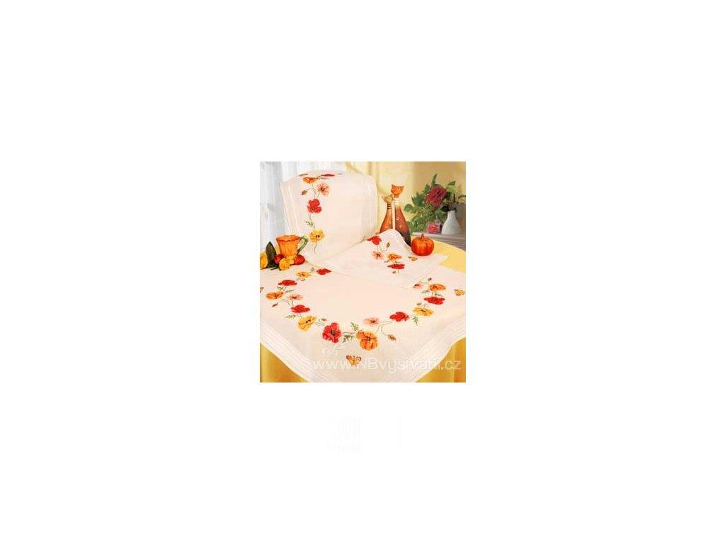 VE2290-9.0359 Ubrus s květy máků (80x80cm)