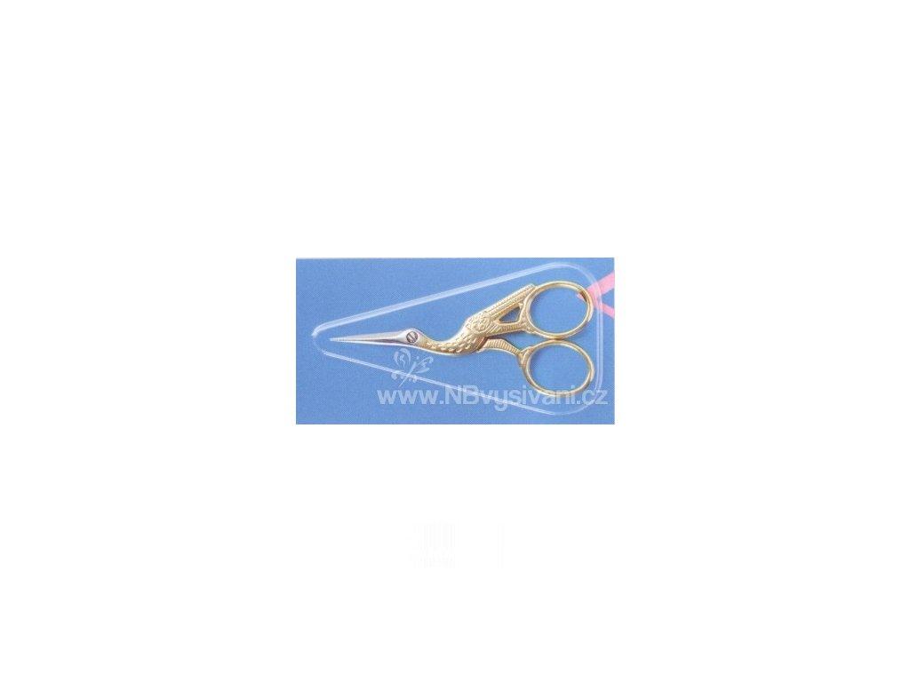 2182111 Nůžky zlaté vyšívací - čáp
