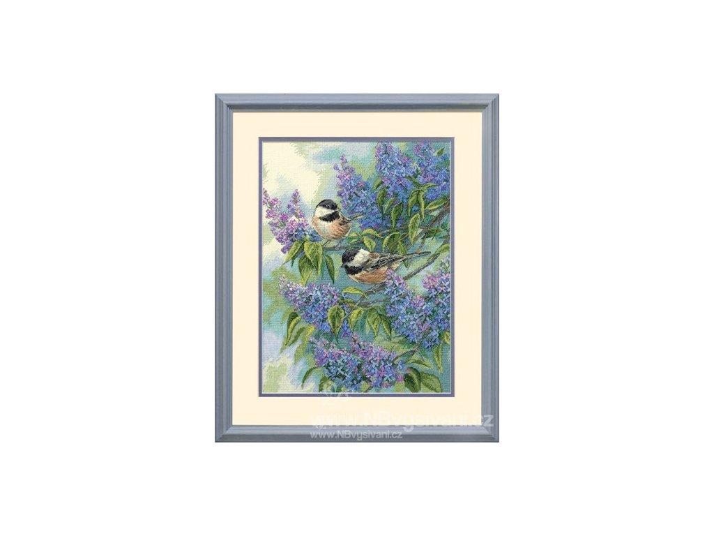 35258 Chickadees and Lilacs - Sýkorky a šeřík