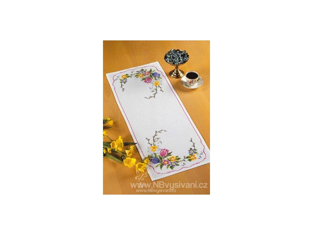 PER68-0188 Ubrus s jarními květinami (34x88cm)