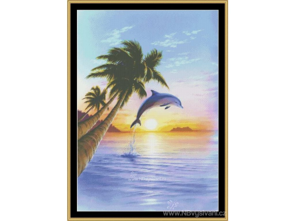 MS-MGL25 Morning Dolphin (Aida 18ct)