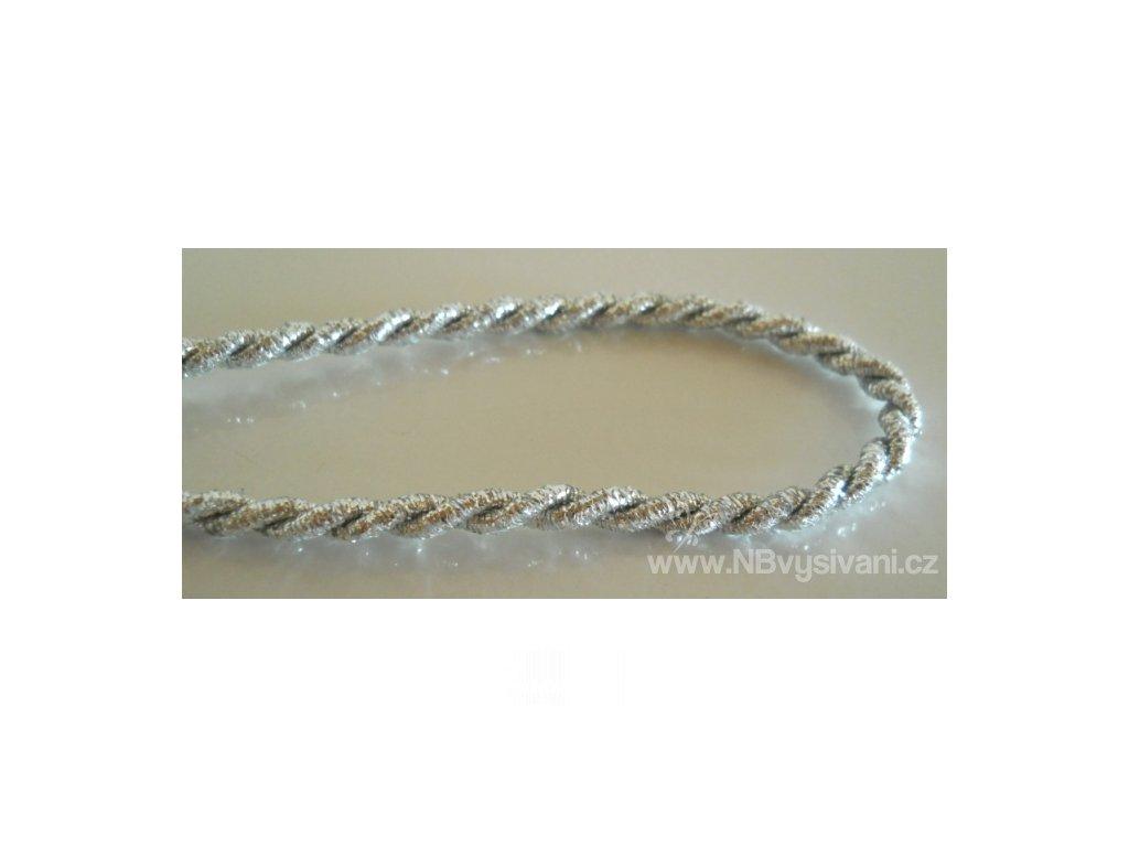 V28021 Kroucená leonská šňůra stříbrná 4mm (1m)