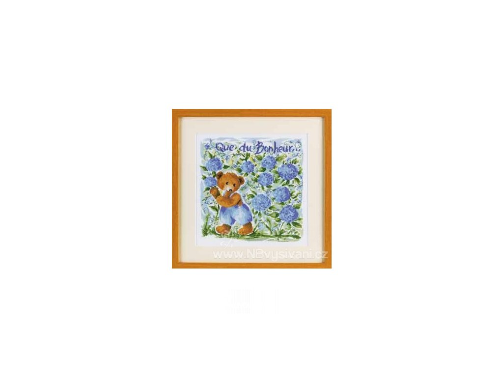 ARP988.6416.08 Medvídek a modré květy (doprodej)