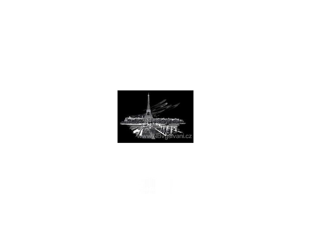 FAM3 Škrabací obrázek stříbrný - Eiffelova věž (39x29cm)
