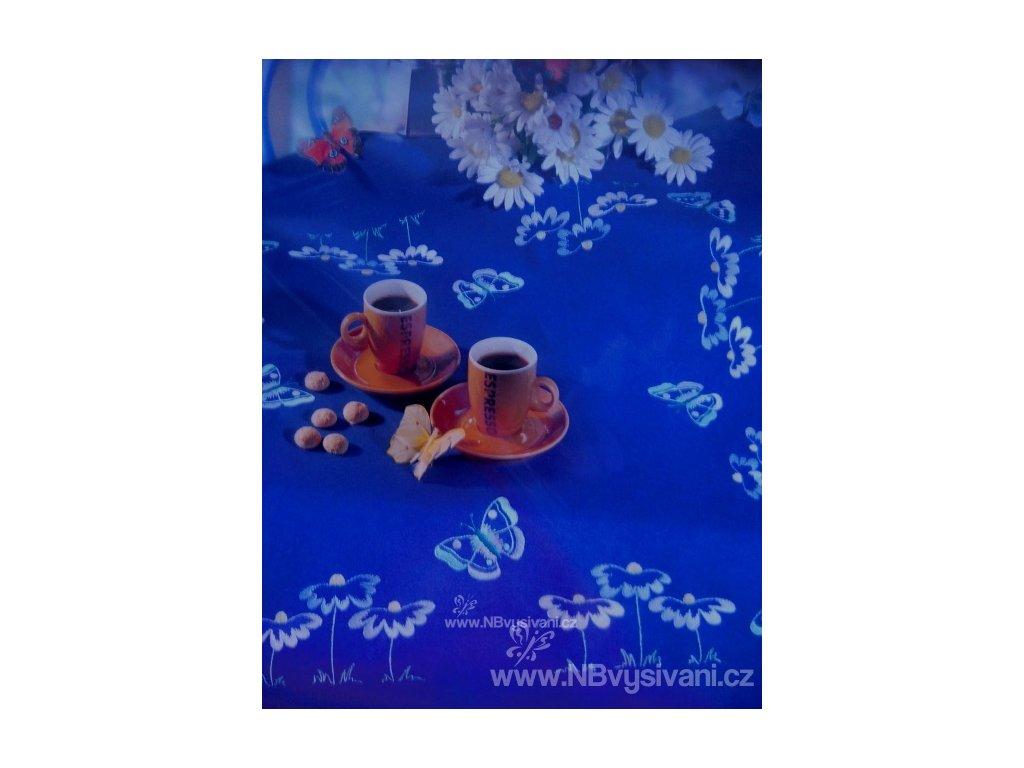 RICO-67062 Modrý ubrus s motýlky (80x80cm)