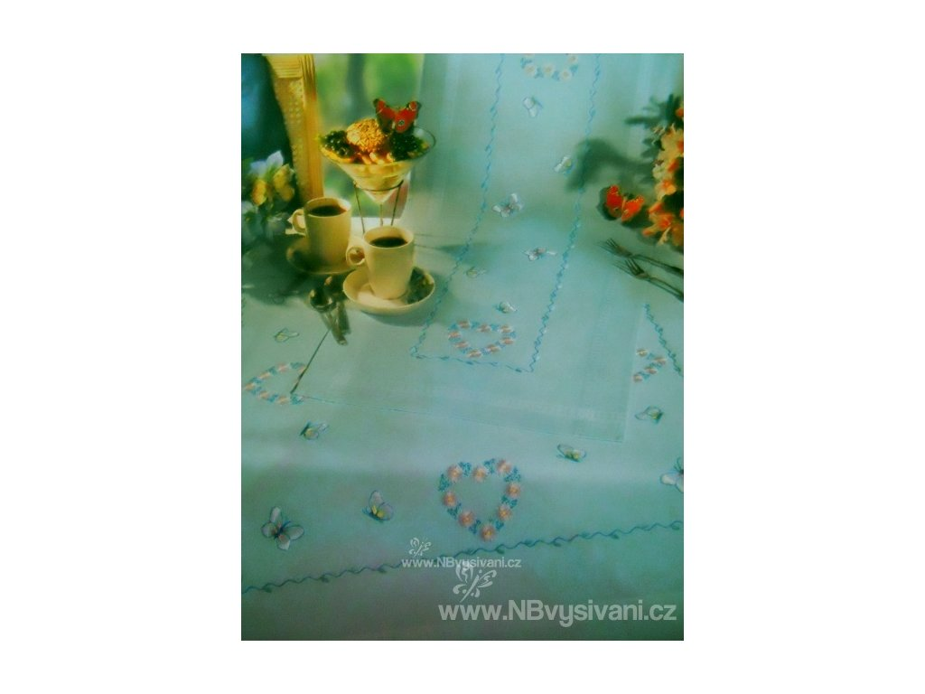 RICO-67081 Modrý ubrus s motýlky (40x100cm)