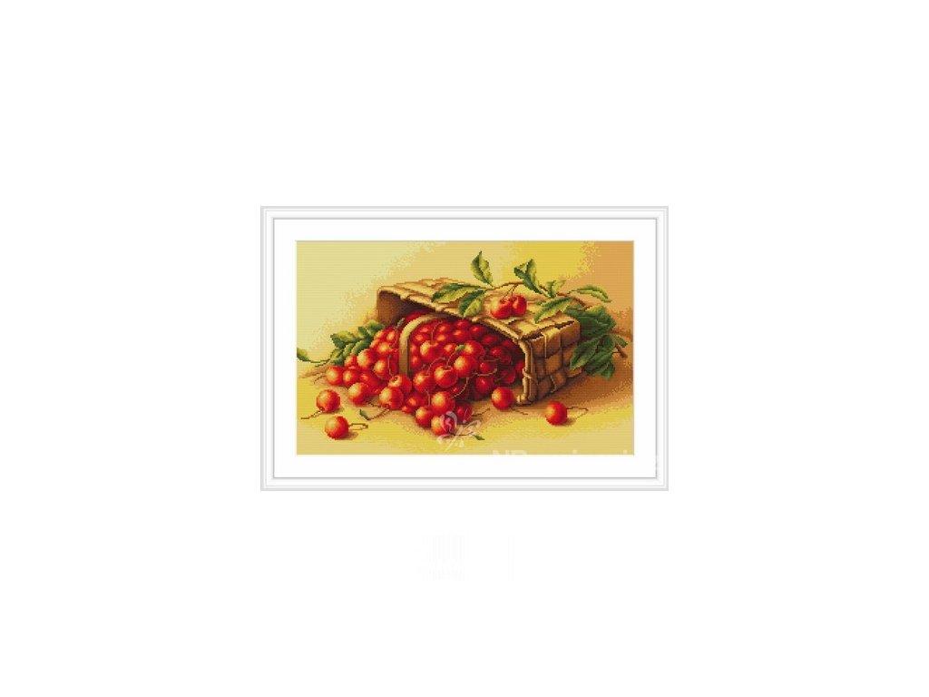 LUC-G498 Košík s třešněmi (gobelínový steh)
