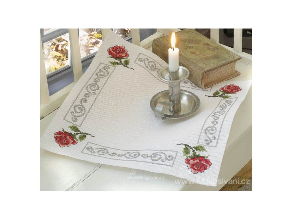 A-9240000-02702 Ubrus s růžemi (40x40cm)