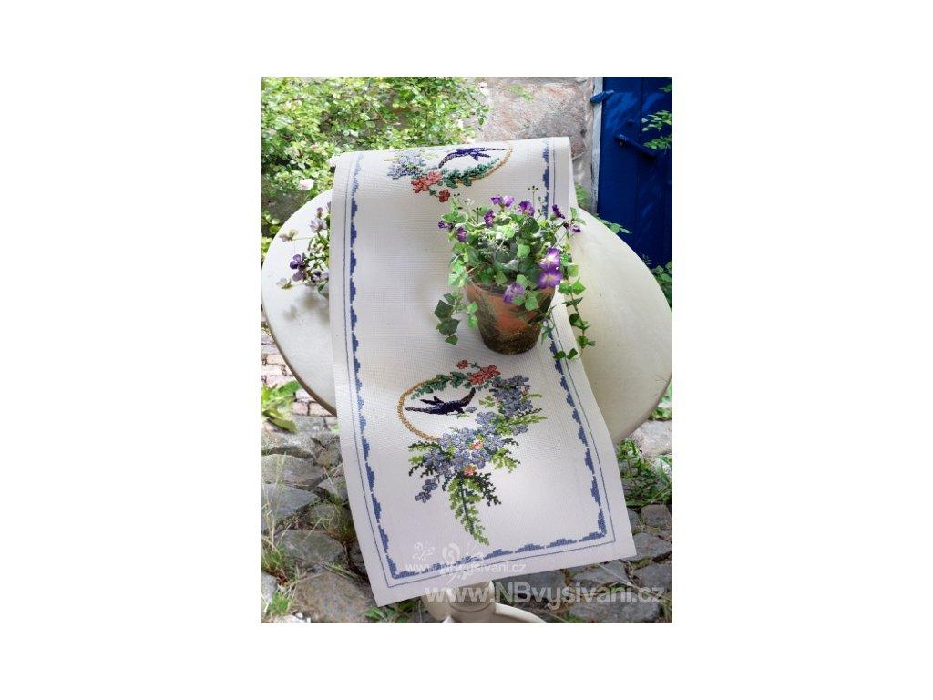 A-9240000-03103 Ubrus - vlaštovky a květy (28x80cm)