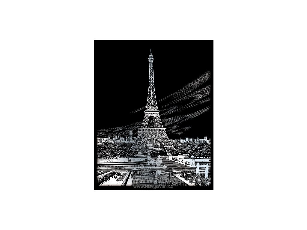 SILF35 Škrabací obrázek stříbrný - Eiffelova věž...