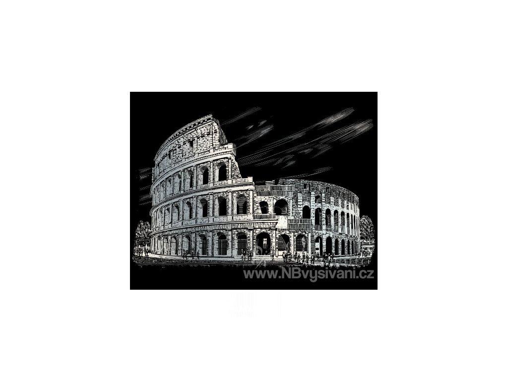 SILF36 Škrabací obrázek stříbrný - Koloseum (20x25cm)