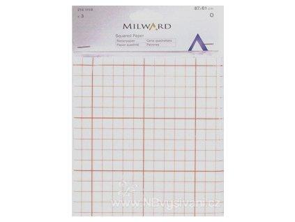 2161119 Čtverečkovaný papír na střihy 87x61cm (3ks)