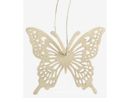 AP4100 Dřevěný motýl na zavěšení bílý (8cm)