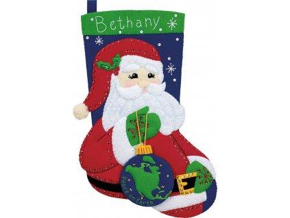 8159 Vánoční filcová punčocha - Santa