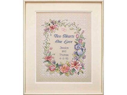 3122 Two Hearts Wedding Record - Svatební sampler