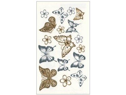 AP1114 Tetovací obtisky zlaté a stříbrné - motýli (11x6cm)